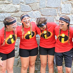 Camp Counselors dressed up as super hero