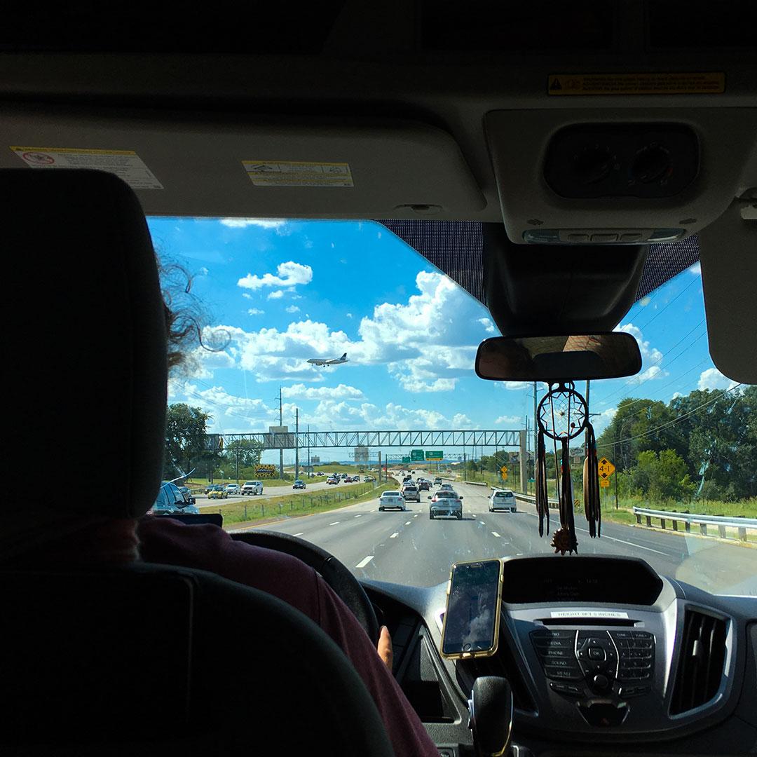 Inside the car of a roadtrip