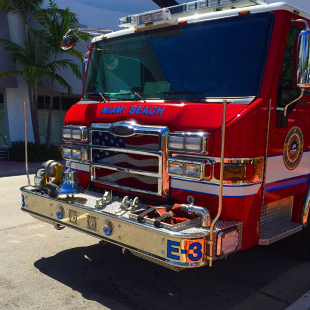 Front of a Miami Fire Truck