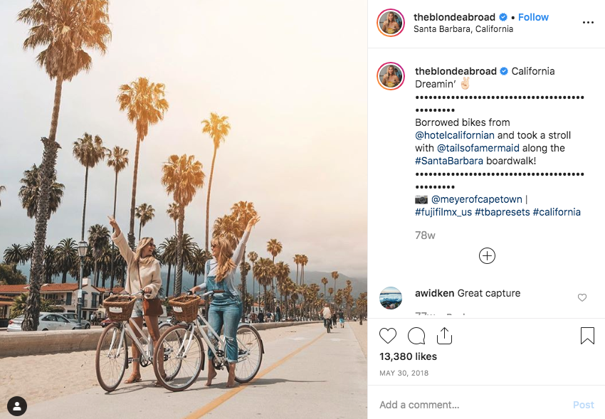 Blondieabroad travel Instagram account