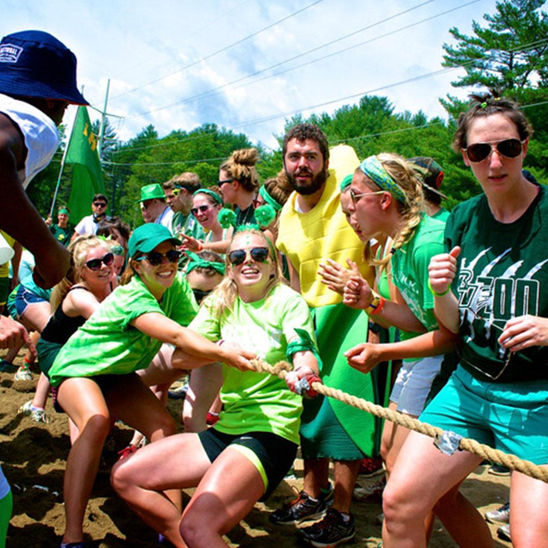 Camp Counselors doing tug of war