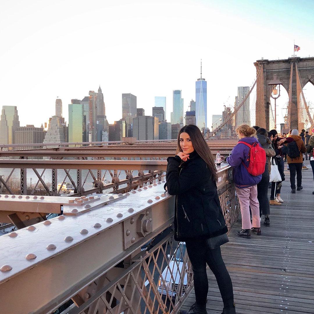 Chloe on the Brooklyn Bridge in New York
